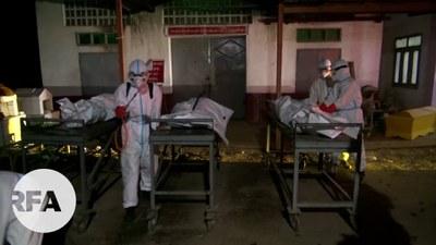 လားရှိုးမြို့က ကိုရိုနာဗိုင်းရပ်စ်ရောဂါ ထိန်းချုပ်ကာကွယ်ရေး ကျန်းမာရေးဝန်ထမ်းတွေကို တွေ့ရစဉ်