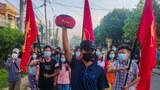 ထားဝယ်မြို့မှာ စစ်အာဏာရှင် ဆန့်ကျင်ေရး လူငယ်ရေးရာစစ်ကြောင်း ၂၀၂၁ မေလ ၁၄ ရက်နေ့က ချီတက်ဆန္ဒပြစဉ်