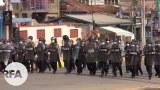 ရှမ်းပြည်နယ်မြောက်ပိုင်း လားရှိုးမြို့က ဆန္ဒပြပွဲအနီးက ရဲတပ်ဖွဲ့။