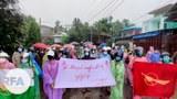 ထားဝယ်ခရိုင်၊ လောင်းလုံးမြို့နယ်အတွင်းက အမျိုးသမီးတွေ ဦးဆောင်ပြီး စစ်အာဏာရှင်စနစ်ဆန့်ကျင်ရေး ၂၀၂၁ စက်တင်ဘာ ၃ ရက်နေ့က ဆန္ဒပြခဲ့ကြစဉ်