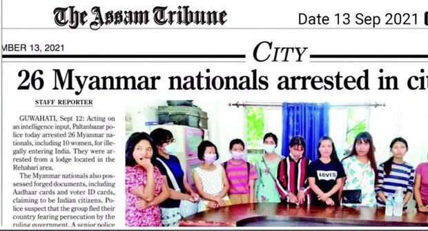 အာသံပြည်နယ်မှာ မြန်မာနိုင်ငံသား ၂၆ ဦးကို အိန္ဒိယရဲတပ်ဖွဲ့ ဖမ်းဆီး