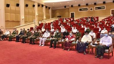 မြန်မာစစ်တပ်က ဖွဲ့စည်းထားတဲ့ နိုင်ငံတော်စီမံအုပ်ချုပ်မှုကောင်စီ အဖွဲ့ဝင်များ။
