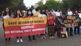 မြန်မာပြည်က နိုင်ငံရေးအကျဉ်းသားအားလုံး လွတ်မြောက်ရေး အမေရိကန် ဝါရှင်တန်ဒီစီမြို့ သမ္မတအိမ်ဖြူတော်ရှေ့မှာ ဆန္ဒပြစဥ်
